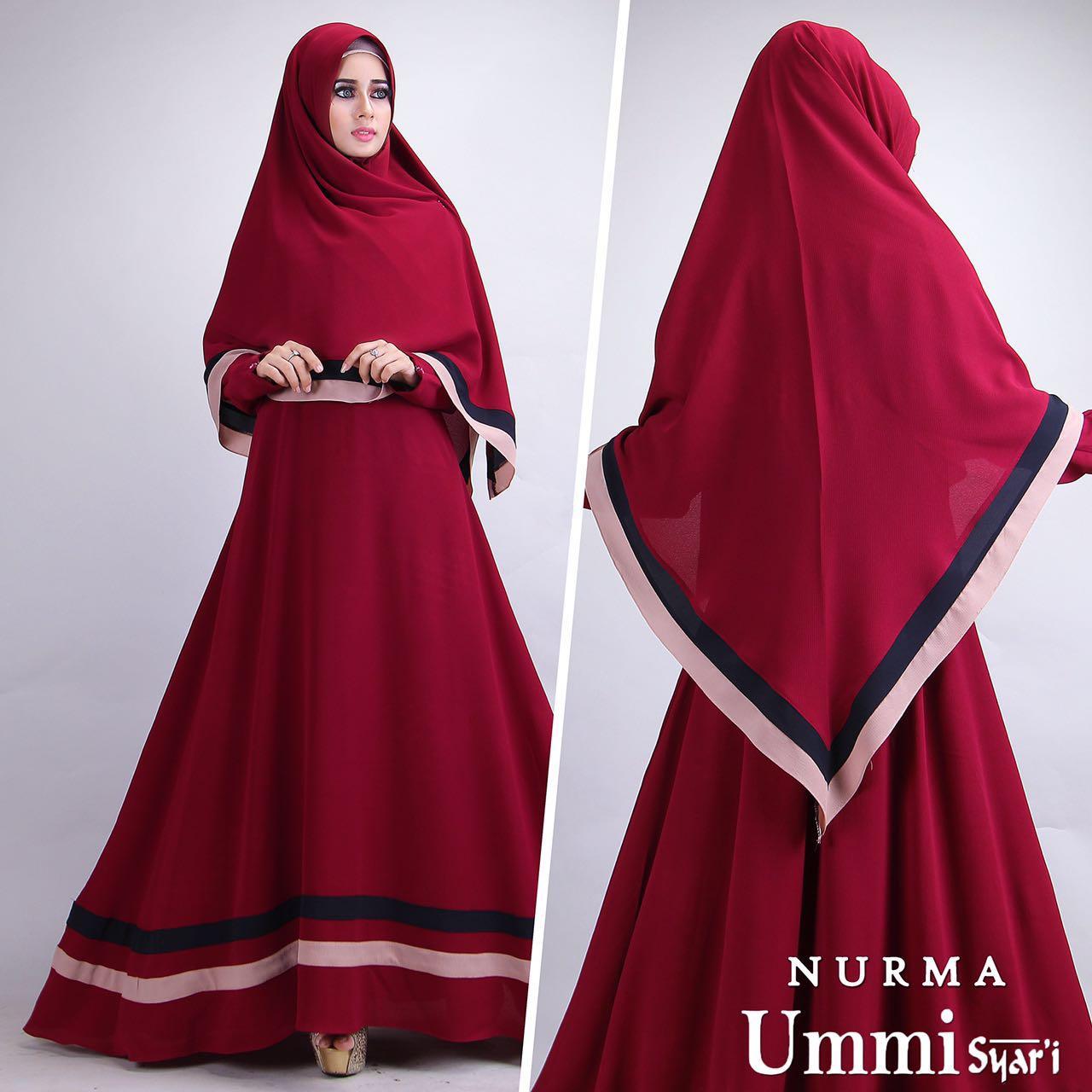 Cuci Gudang Baju Gamis Jersey Nurma Syari Red Murah Difa Store