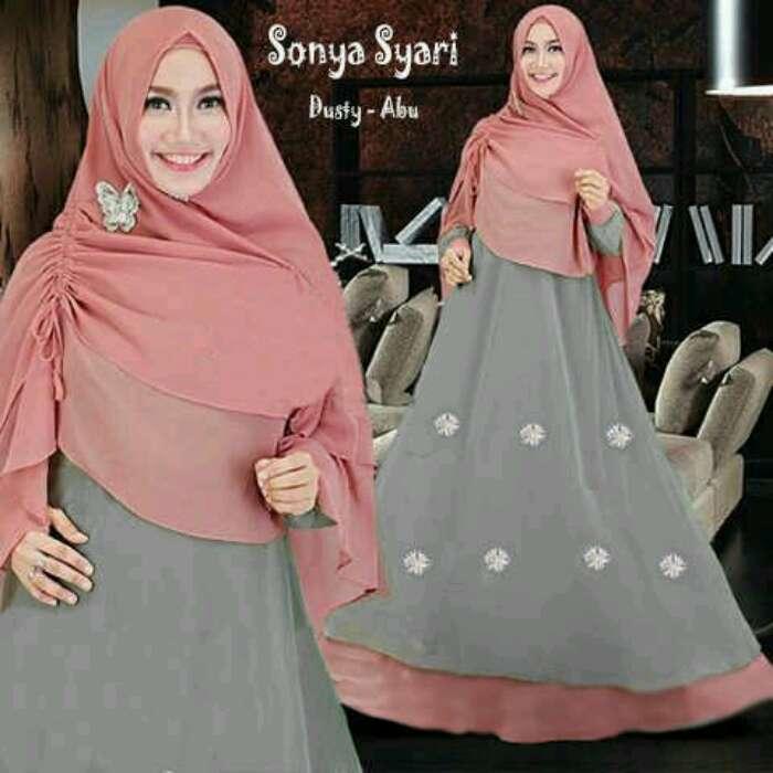 Baju Gamis Spandek Polos Sonya Abu Abu Murah Difa Store Busana