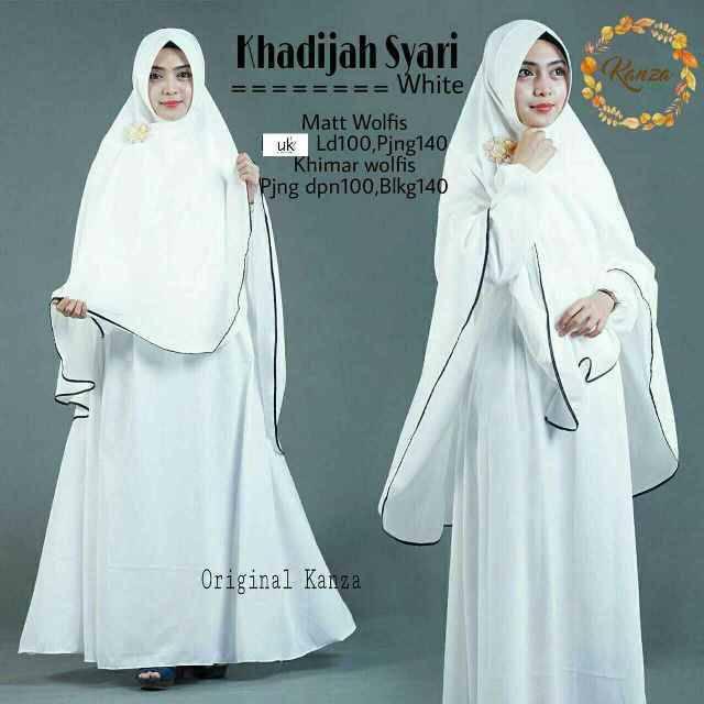 Baju Gamis Syari Khadijah Putih Polos Wolfis Difa Store Busana