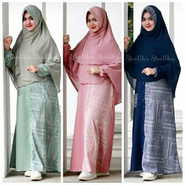 Baju Gamis Syari Premium Shaliha Hijau Motif Ethnic Bahan Balloteli Murah 2589d13a1e