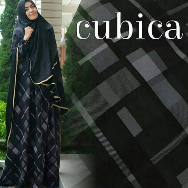 Baju Gamis Syari Premium Cubica Hitam Motif Kotak Kotak Bahan