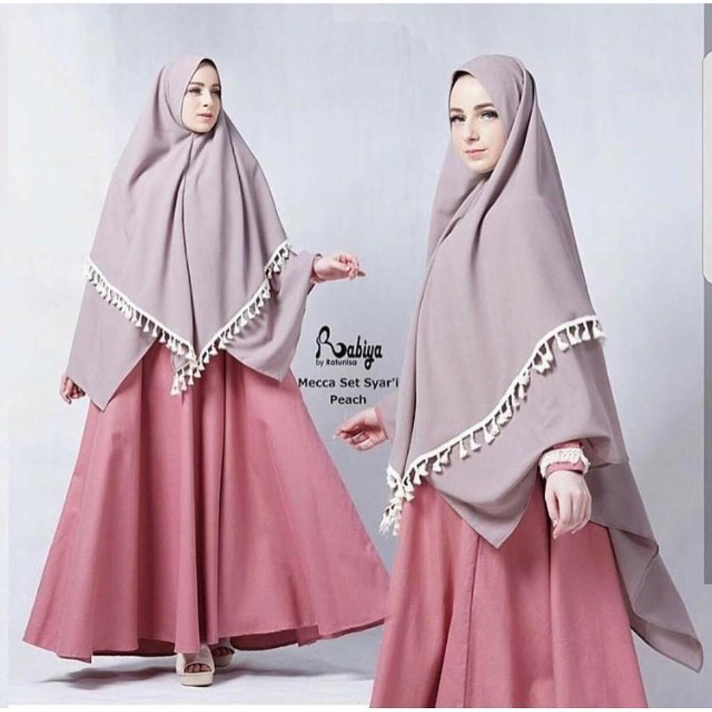 Baju Gamis Mecca Syari Pink Bahan Bubble Crepe  2844c4110b