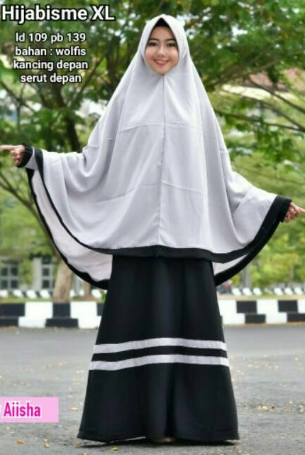 Baju Gamis Syari Cadar Hijabisme Hitam Polos Bahan Wolfis Murah