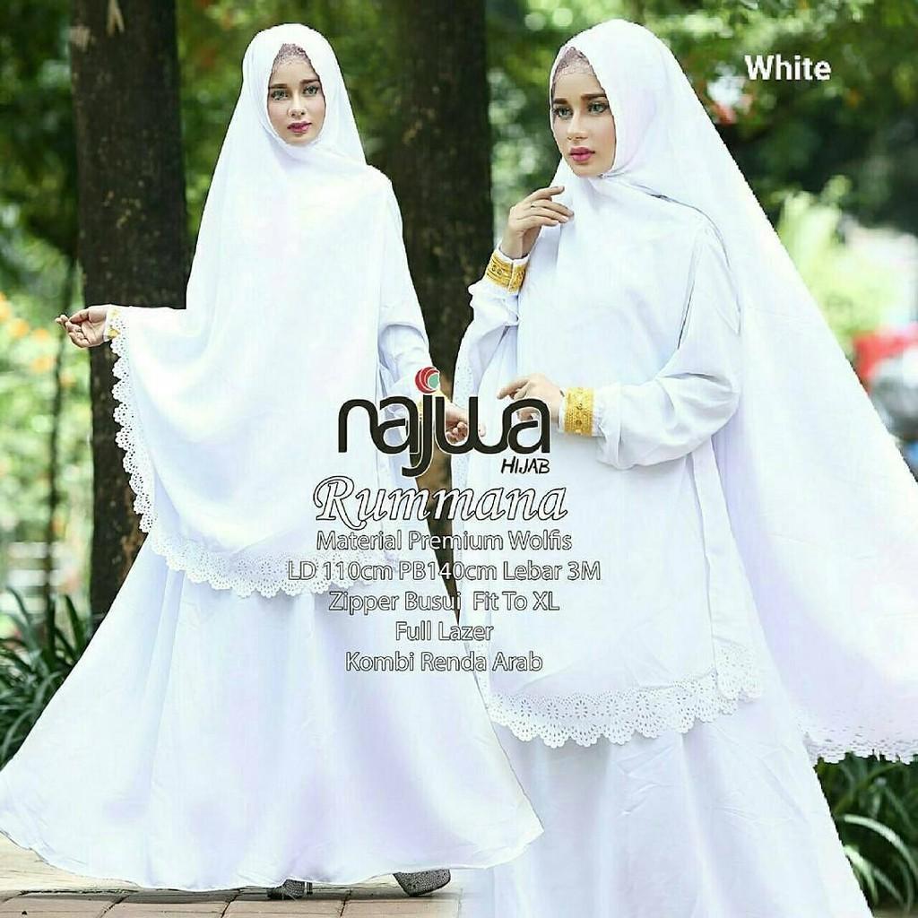 Baju Gamis Syari Rummana Putih Bersih Umroh Polos Bahan Wolfis Murah ... efa11ffabe