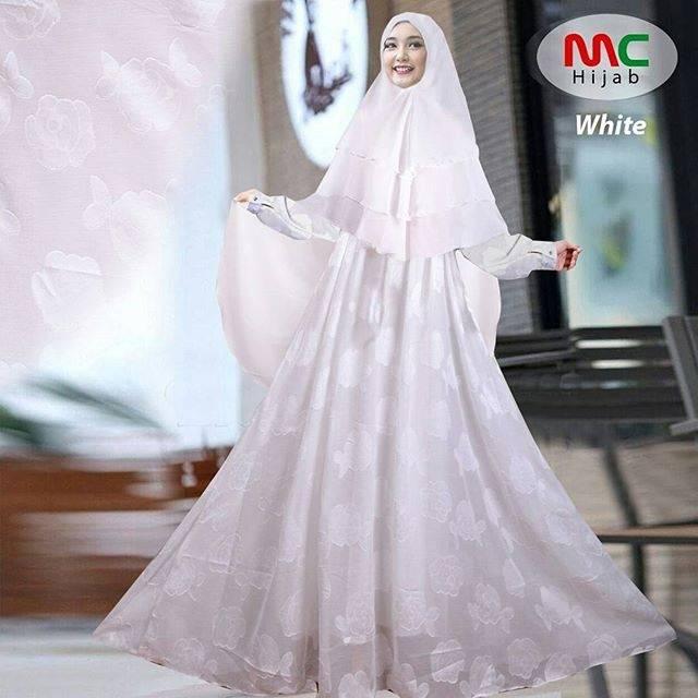 Baju Gamis Syari Dyana Putih Polos Umrah Berkarakter Unik Bahan