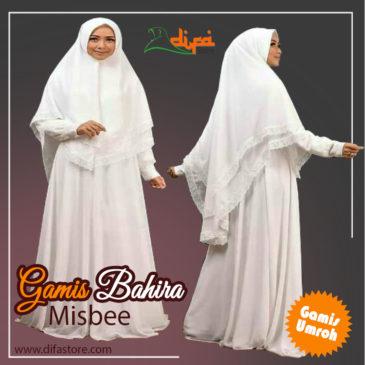 Baju Gamis Syari Umroh Bahira Putih Polos Bahan Misbee Murah Difa