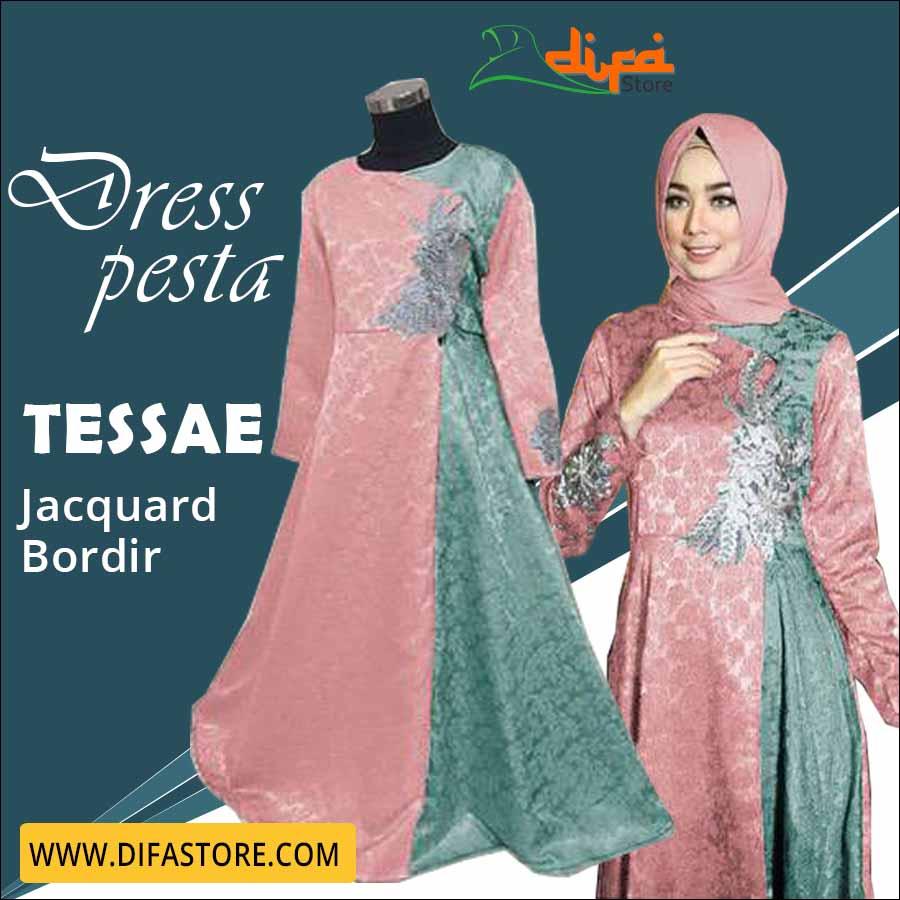 02a36afc Baju Dress Pesta Tessae Salem Polos Bordir Bahan Jacguard Murah ...