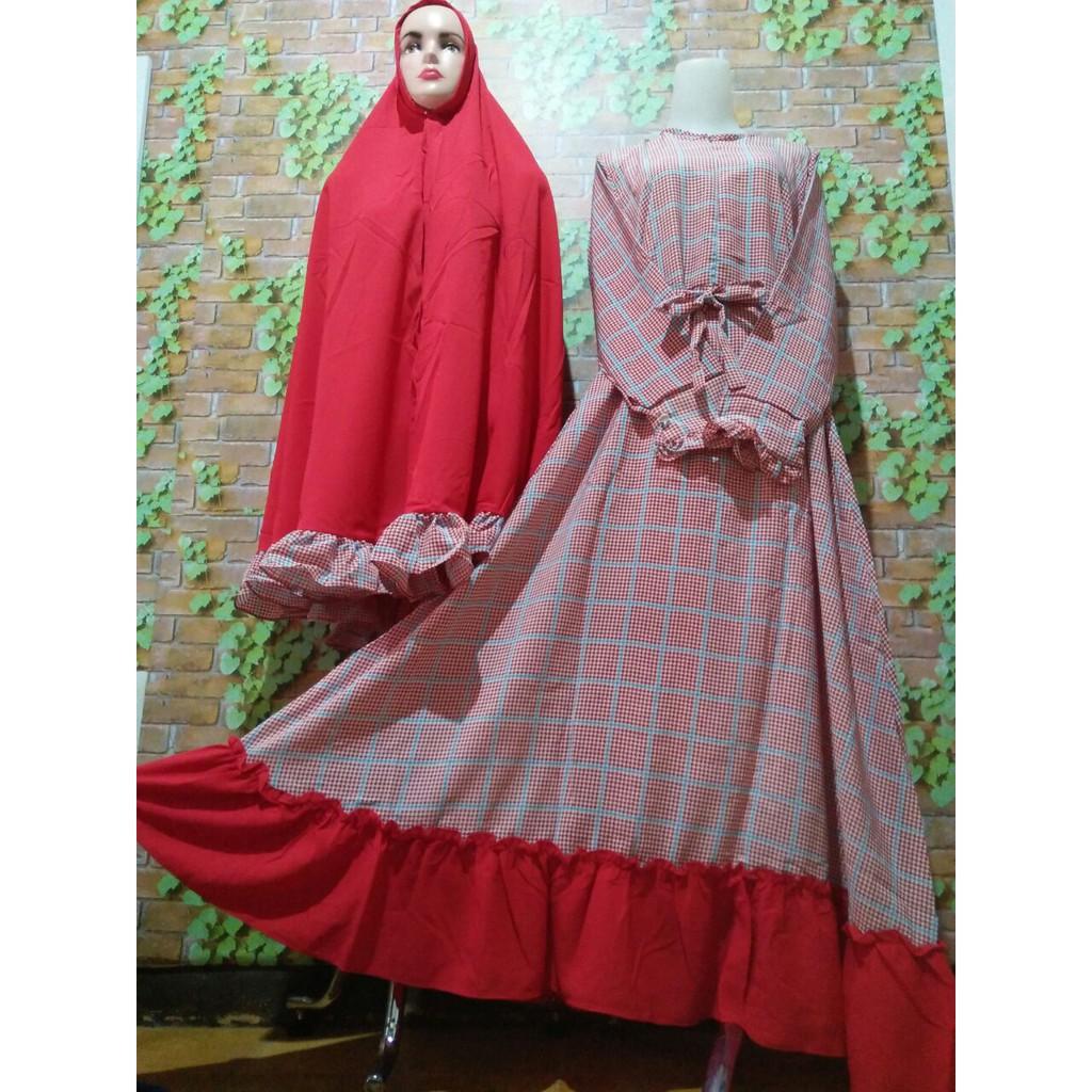 Baju Gamis Syari Webbing Merah Motif Kotak Bahan Dior Wolfis Murah