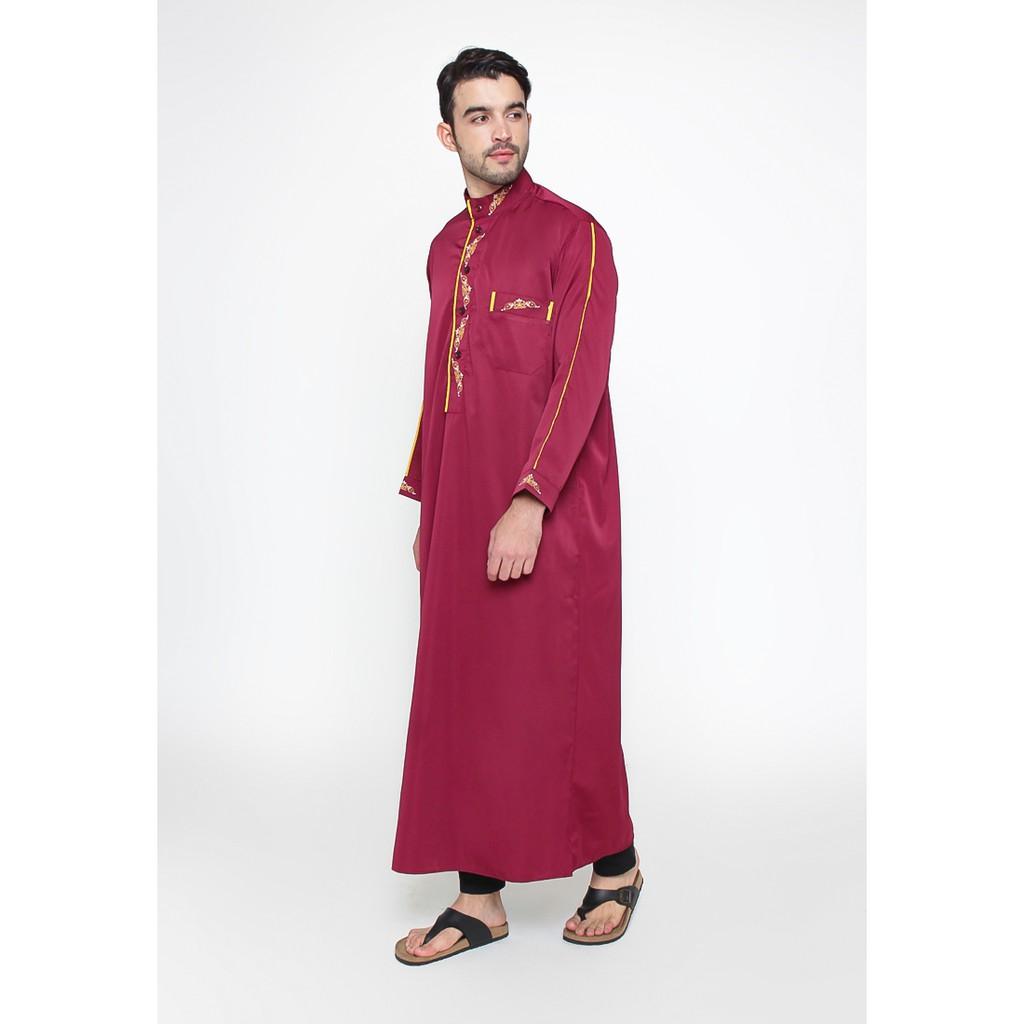 Baju Gamis Jubah Pria Arab Pakistan Turkey Alanzo Maroon Polos