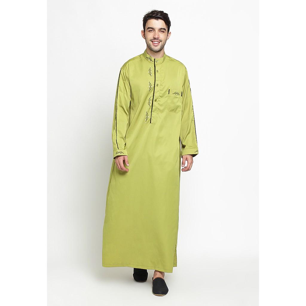 Baju Gamis Jubah Pria Arab Pakistan Turkey Alanzo Hijau Dadar Polos