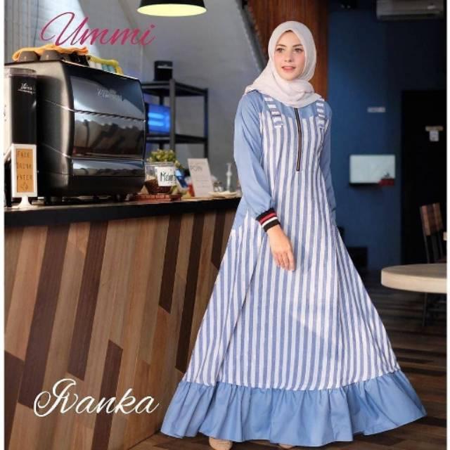 Baju Dress Ivanka Biru Motif Salur Bahan Katun Murah Difa Store