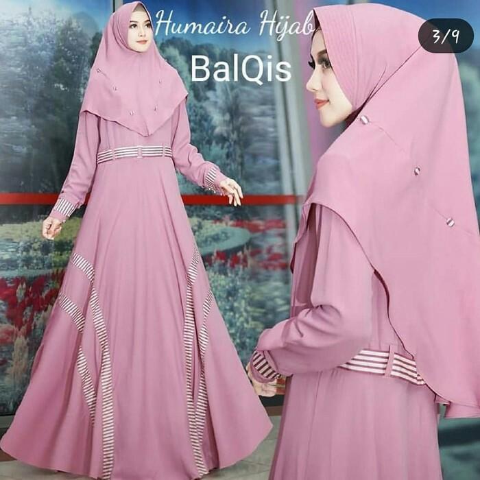 Baju Gamis Syari Humaira Pink Polos Bahan Wolfis Murah  1bb89c52b7