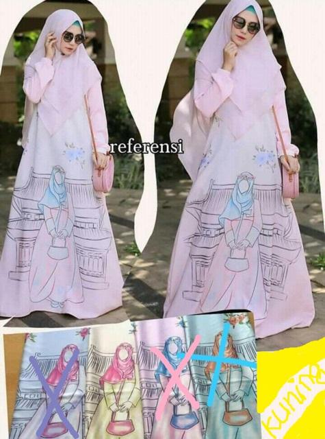 Baju Gamis Syari Richi Kuning Motif Wanita Muslimah Bahan Maxmara Murah 9b5e9176d3