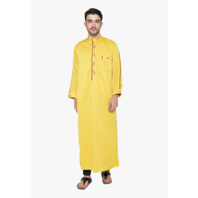 Baju Gamis Jubah Pria Arab Pakistan Turkey Alanzo Kuning Langsat