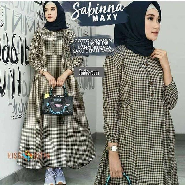 Baju Dress Sabinna Hitam Motif Kotak Mini Bahan Katun Murah Difa