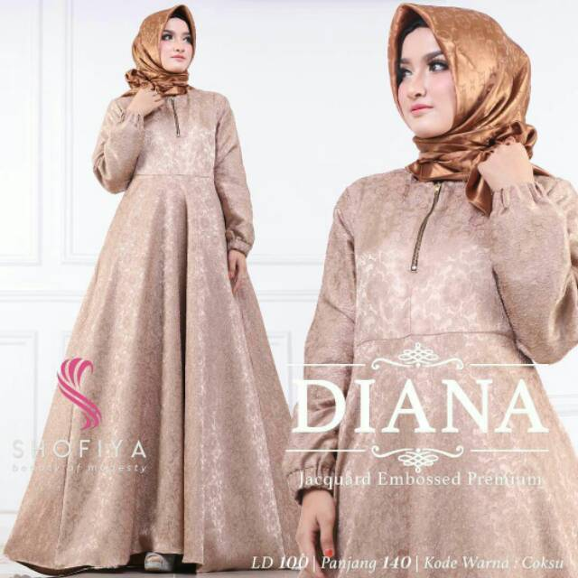 Baju Dress Diana Mocca Polos Berkharakter Bahan Balloteli Embos