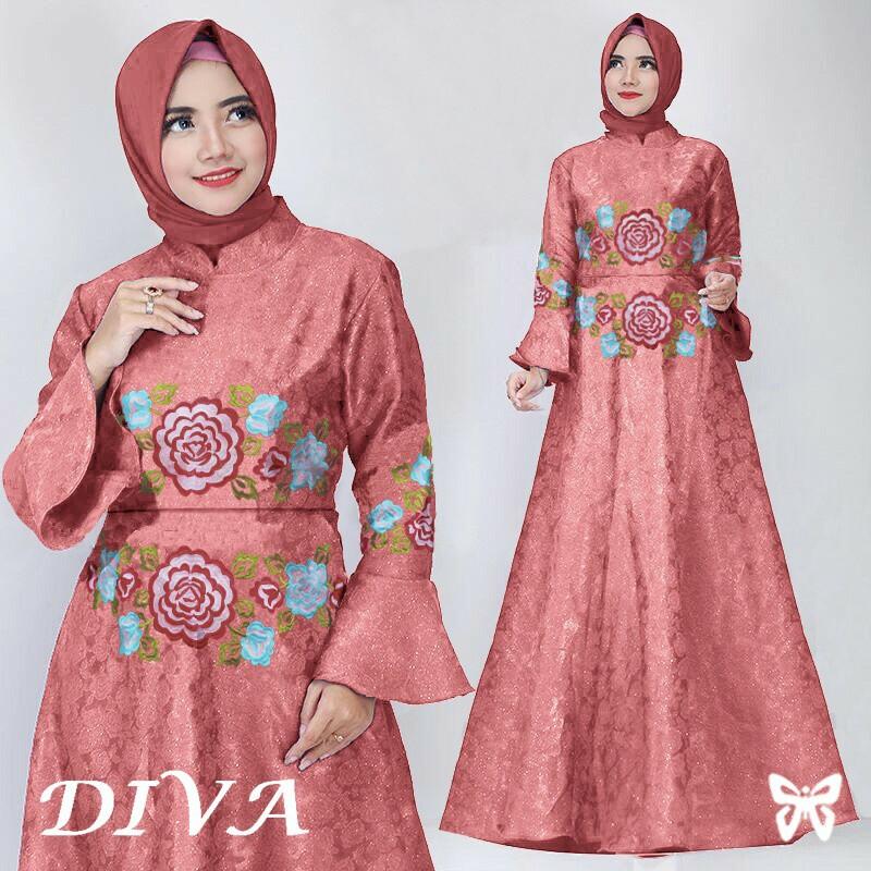 Baju Dress Pesta Diva Pink Dusty Motif Flower Bahan Embos Murah
