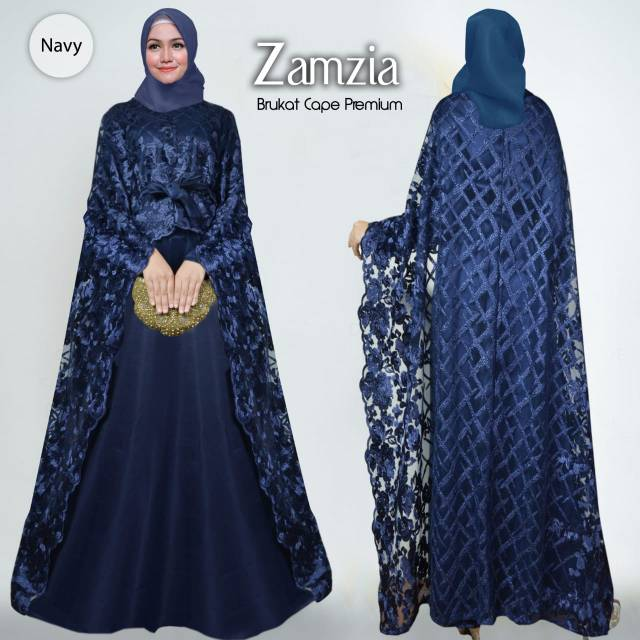 Baju Dress Pesta Mewah Premium Zamzia Navy Bahan Maxmara Murah