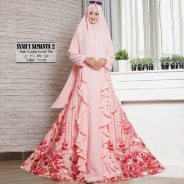 Baju Gamis Pesta Samanta Peach Bordir Cantik Bahan Bubble Crepe Murah 70f6e7a9fe