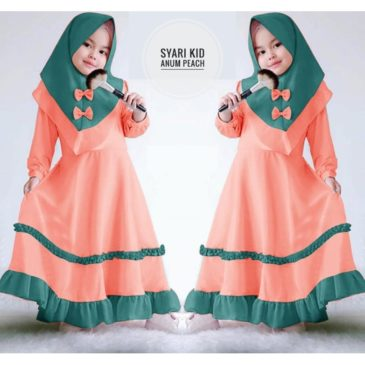 Baju Gamis Kids Anum Peach Polos Bahan Wollycrepe Murah 74dd151aa1