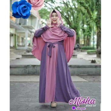 Baju Gamis Syari Misha Purple Polos Two Colour Bahan Moscrepe Murah