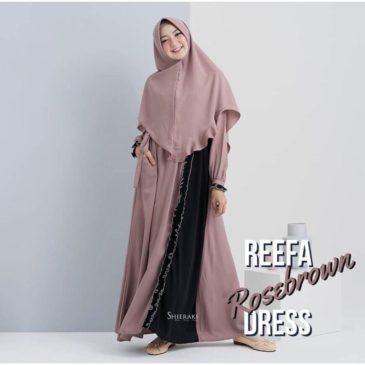 Baju Gamis Syari Reefa Rosebrown Polos Bahan Mostcrepe Murah 9c4ca5d80a