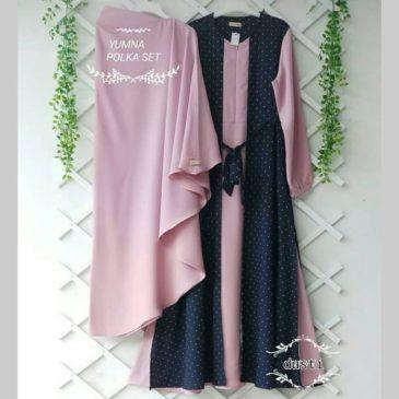 Baju Gamis Syari Yumna Pink Motif Polka Bahan Moscrepe Murah