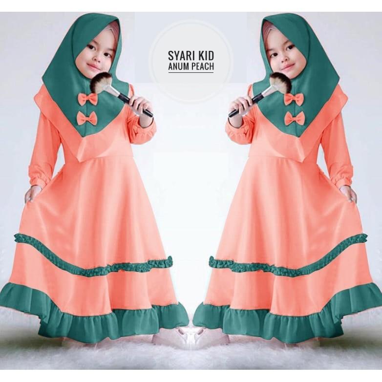 Baju Gamis Kids Anum Peach Polos Bahan Wollycrepe Murah  c2f9845381