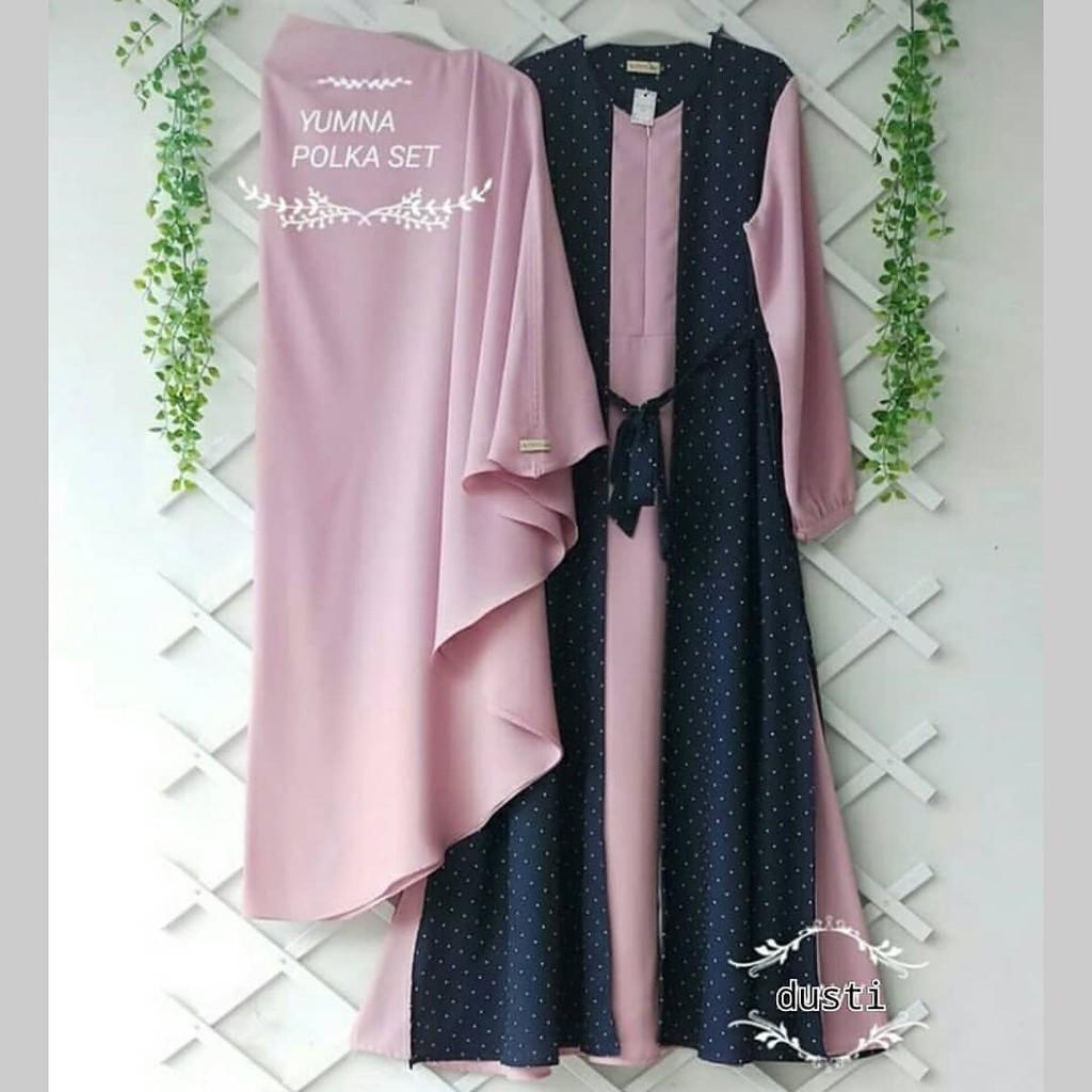 Baju Gamis Syari Yumna Pink Motif Polka Bahan Moscrepe Murah  6768bff312