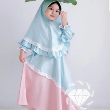Baju Gamis Syari Kids Anak Syahira Pink Tosca Polos Bahan Balloteli Murah