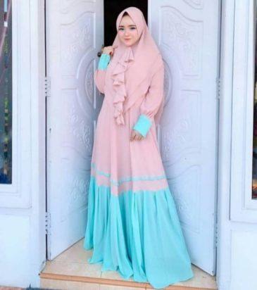 Baju Gamis Terbaru 2019 Mulky Peach Polos Bahan Moscrepe Murah